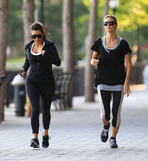 Хайди Клум и Ким Кардашиан на пробежке в Нью-Йорке