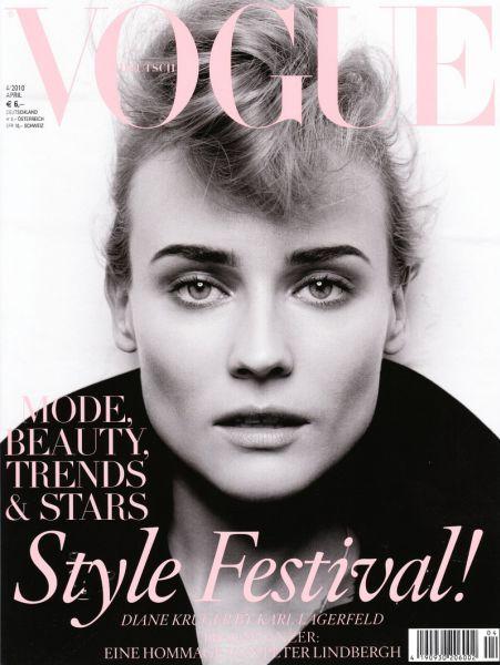 Дайан Крюгер в журнале Vogue. Германия. Март 2010. Фотограф: Карл Лагерфельд