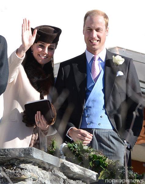 Принц Гарри, принц Уильям и Кейт Миддлтон на свадьбе в Швейцарии