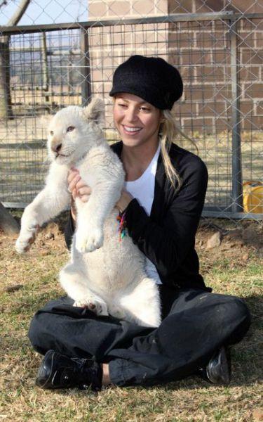 Шакира в ЮАР общается с детьми и львятами