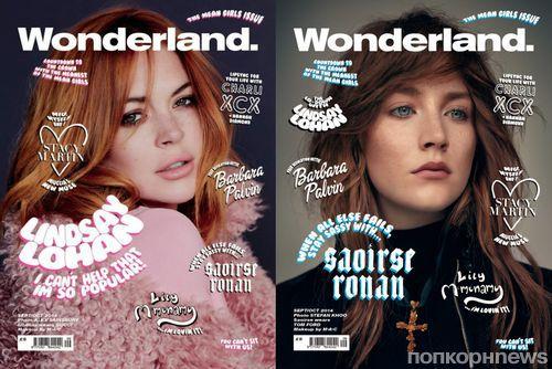 Линдси Лохан, Сирша Ронан, Стейси Мартин и Барбара Палвин на обложке журнала Wonderland. Сентябрь / октябрь 2014