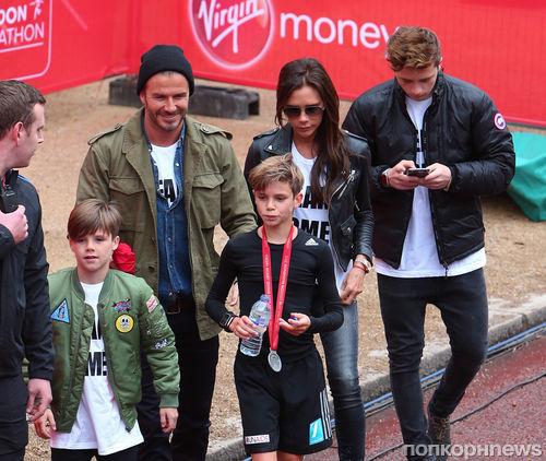 Сын Дэвида и Виктории Бекхэм принял участие в Лондонском марафоне