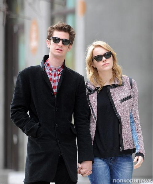 Эмма Стоун и Эндрю Гарфилд во время прогулки по Нью-Йорку