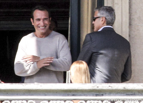 Джордж Клуни и Жан Дюжарден на съемках рекламы