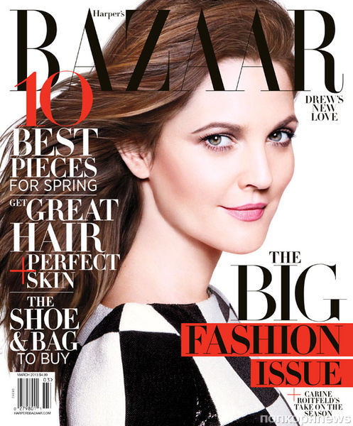 Дрю Бэрримор в журнале Harper's Bazaar. Март 2013