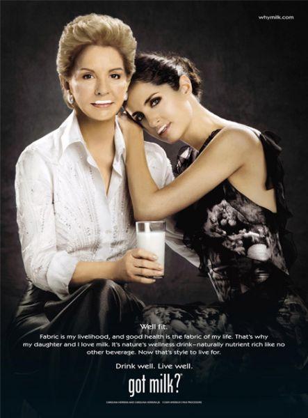 Каролина Херрера и ее дочь в рекламе Got Milk