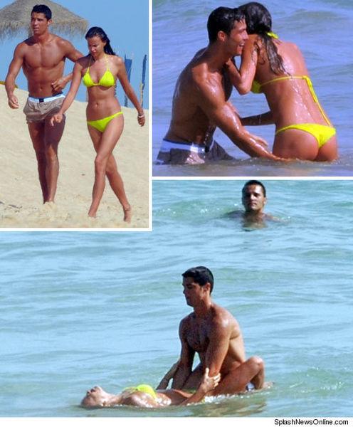 Криштиану и Ирина на пляже в Португалии