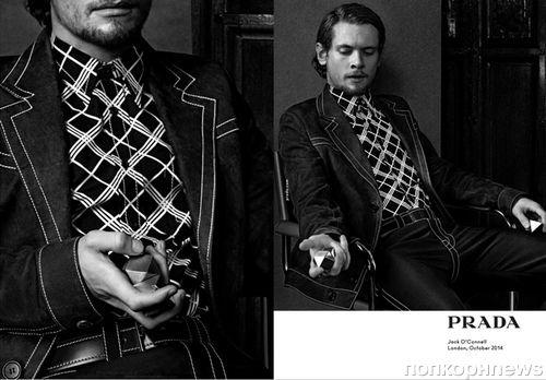 Джек О'Коннелл, Майлз Теллер, Энсел Эльгорт и Итан Хоук в рекламной кампании Prada. Весна / лето 2015