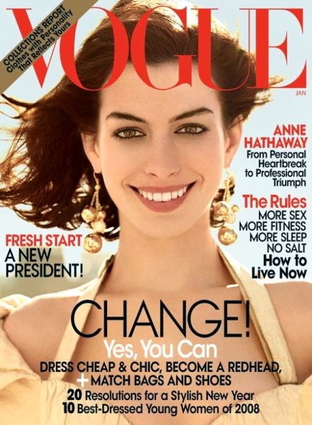 Энн Хэтэуэй на обложке Vogue UK. Январь 2009