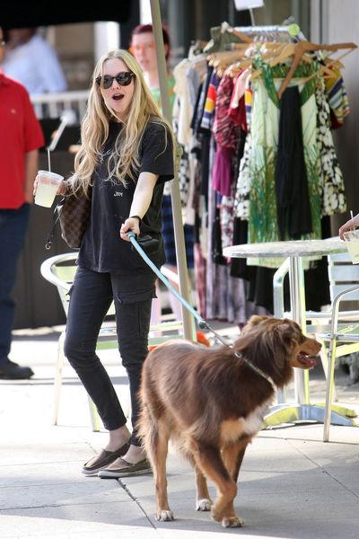 Аманда Сейфрид на прогулке с собакой