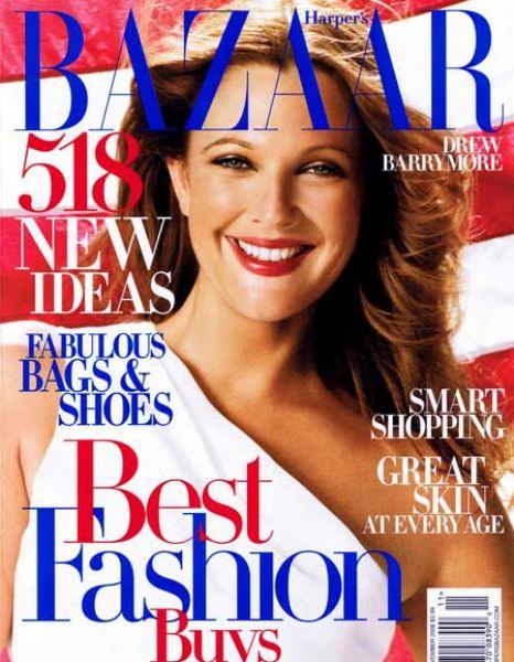 Патриотка Дрю Бэрримор в Harper's Bazaar. Ноябрь 2008