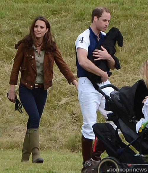 Кет Миддлтон и Принц Уильям со своим щенком в  Beaufort Polo Club