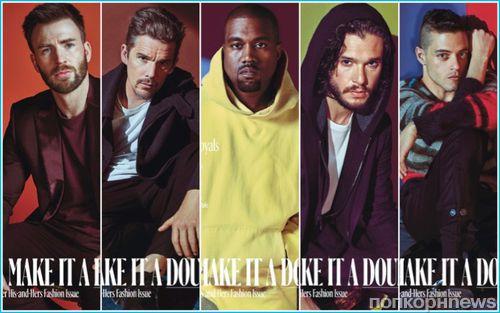 «Новые короли»: Кит Харингтон, Крис Эванс, Канье Уэст на обложках спецвыпуска W Magazine