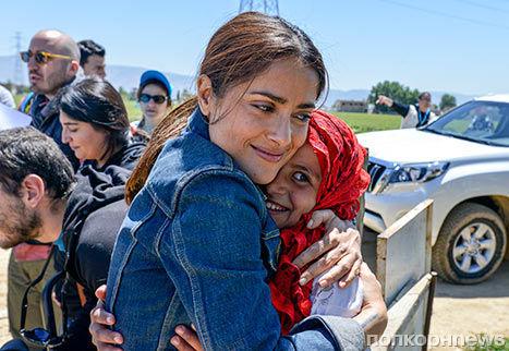 Сальма Хайек встретилась с сирийскими беженцами
