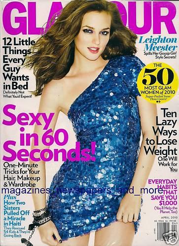 Лейтон Мистер на обложке апрельского выпуска Glamour US и на съемочной площадке сериала «Сплетница»