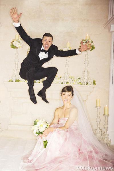 Молодожены Джастин Тимберлейк и Джессика Бил: первое свадебное фото