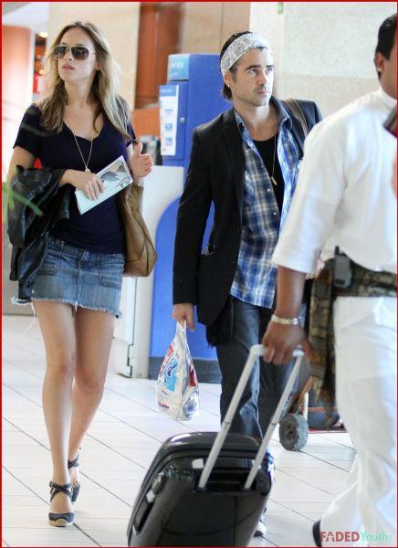 Колин Фаррелл с Алисией Бачеледа в аэропорту Мехико и Лос-Анджелеса