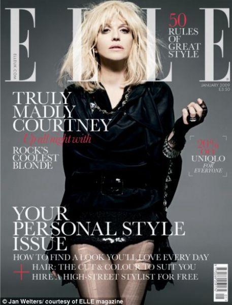 Кортни Лав в журнале Elle. Великобритания. Январь 2009.