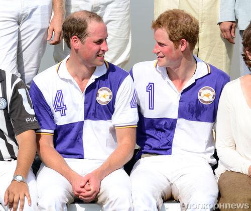 Принцы Гарри и Уильям на игре в поло