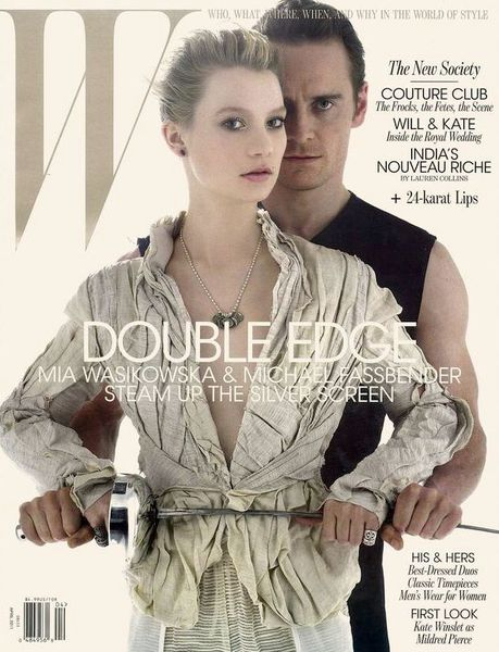Миа Васиковска и Майкл Фассбендер в журнале W. Апрель 2011