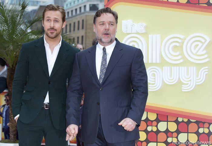 Райан Гослинг и Рассел Кроу на премьере фильма «Славные парни» в Лондоне