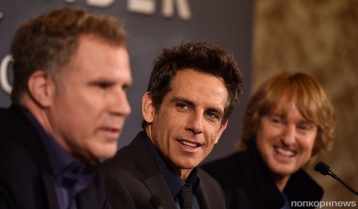 Бен Стиллер, Оуэн Уилсон и Джастин Теру на премьере «Образцового самца 2» во Франции
