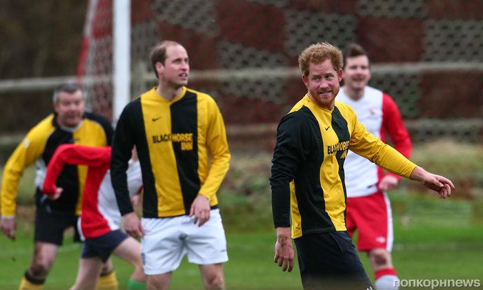 Принцы Уильям и Гарри приняли участие в благотворительном футбольном матче