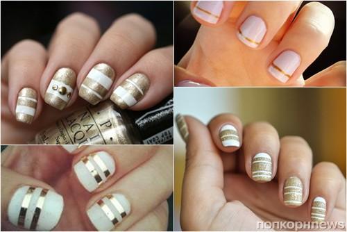 Дизайн ногтей белый с золотом фото