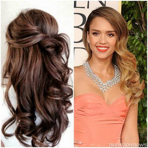 Прическа на средние волосы с длинным платьем фото