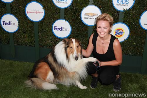 Малин Акерман и собака Лэсси