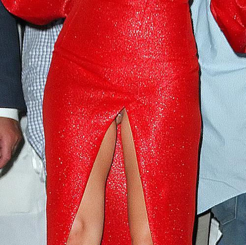 Разрез платья Lady Gaga открыл немного больше чем надо