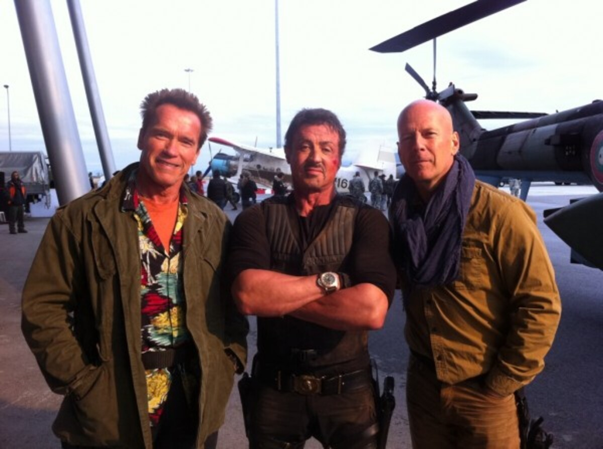 Арнольд и компания на съемках «Неудержимых 2»