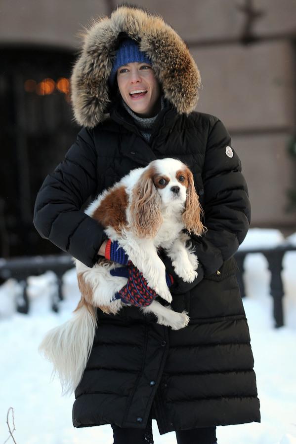 Лив Тайлер с сыном и собакой на прогулке