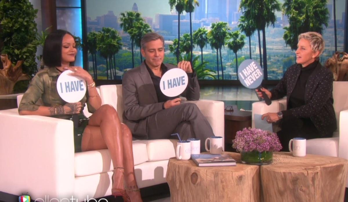 Джордж Клуни и Рианна сыграли в «Я никогда не…»