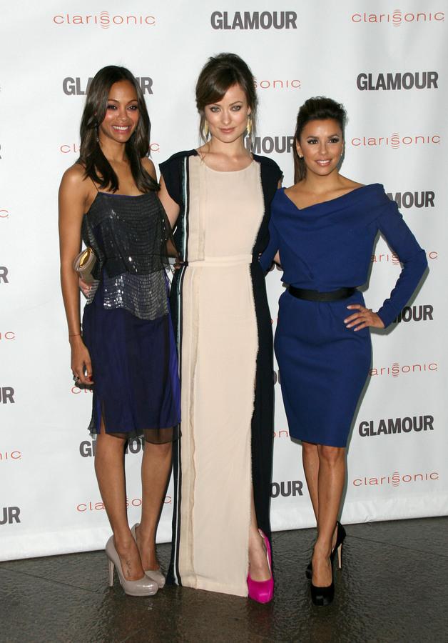 Ева Лонгория, Оливия Уайлд и Зои Салдана на вечере «Glamour Reel Moments»