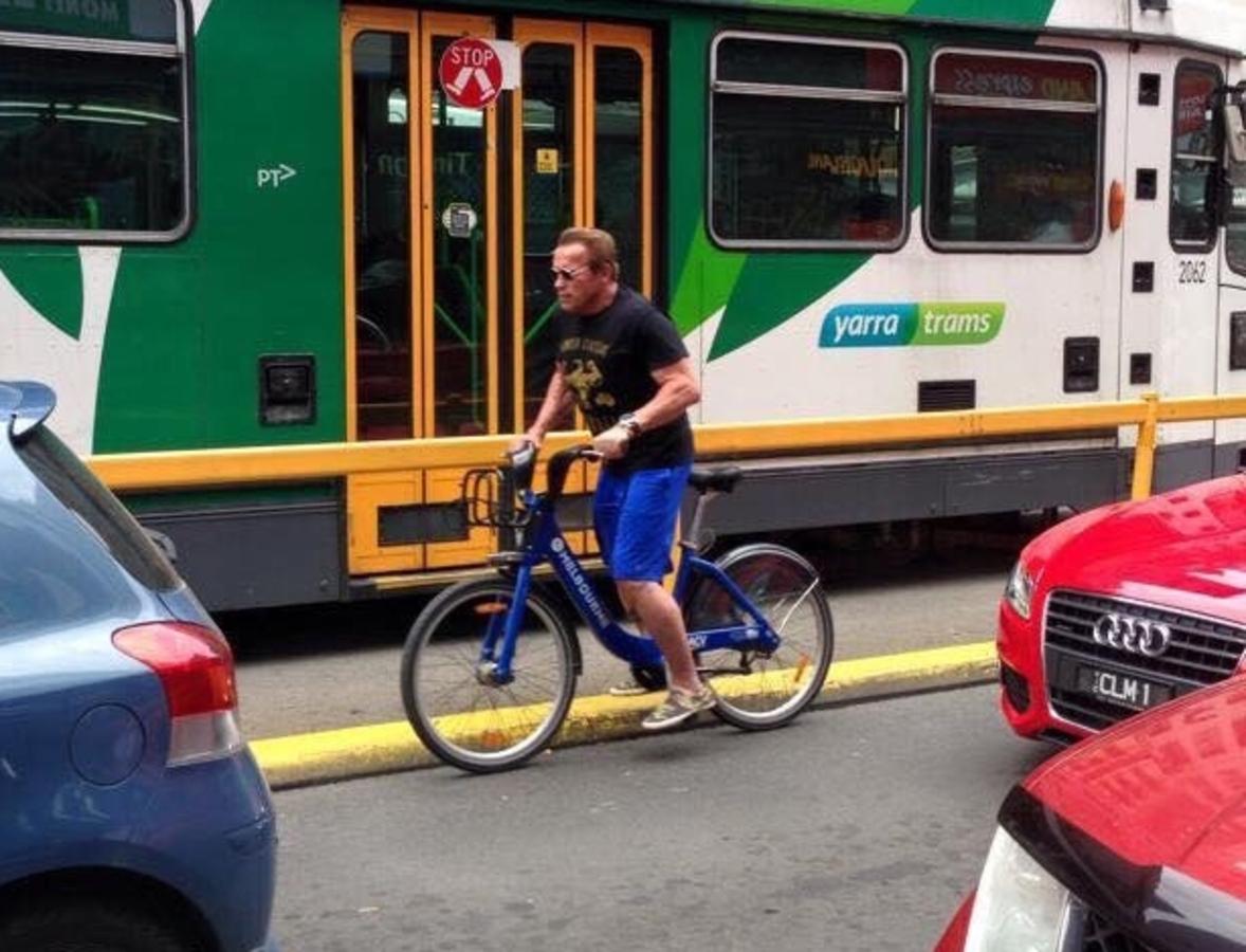 Арнольд Шварценеггер был задержан за неправильную езду на велосипеде