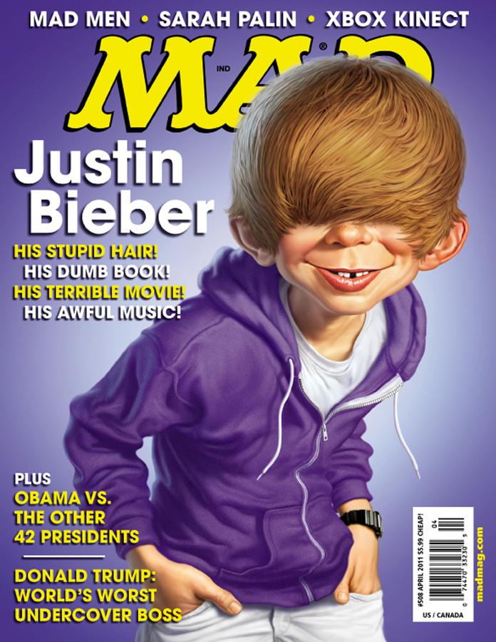Джастин Бибер на обложке юмористического журнала MAD