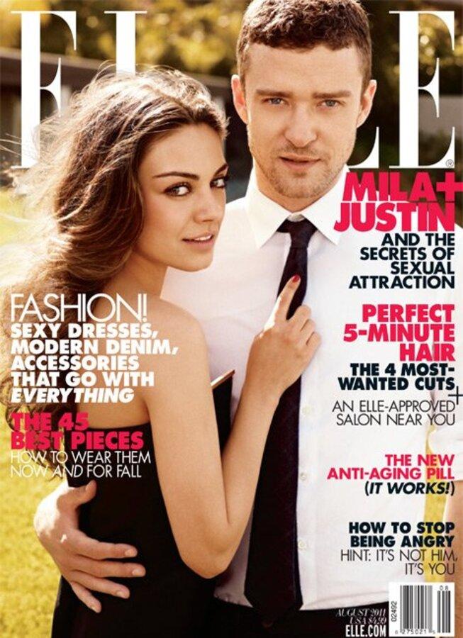 Мила Кунис и Джастин Тимберлейк в журнале Elle. Август 2011