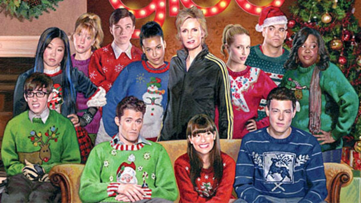 """Рождественская открытка участников сериала """"Хор/Glee"""""""