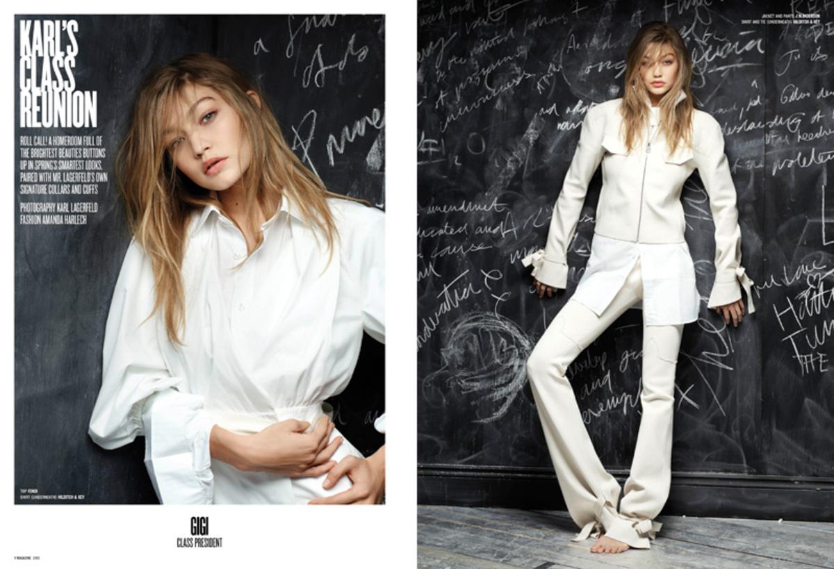 Джиджи Хадид и Кендалл Дженнер в фотосессии для V Magazine от Лагерфельда