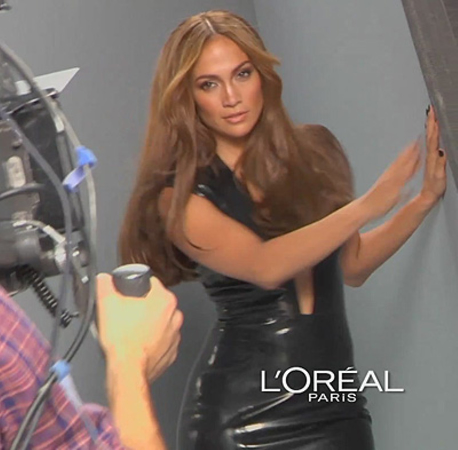 Дженнифер Лопес на съемках рекламы L'Oréal