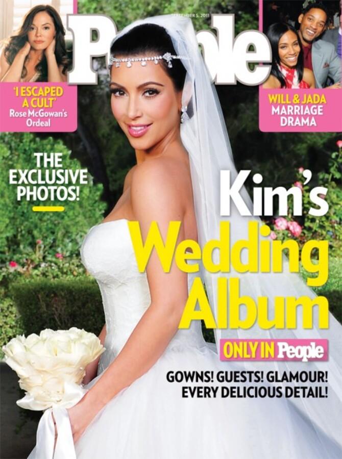 Ким Кардашиан в журнале People. Свадебный фотографии