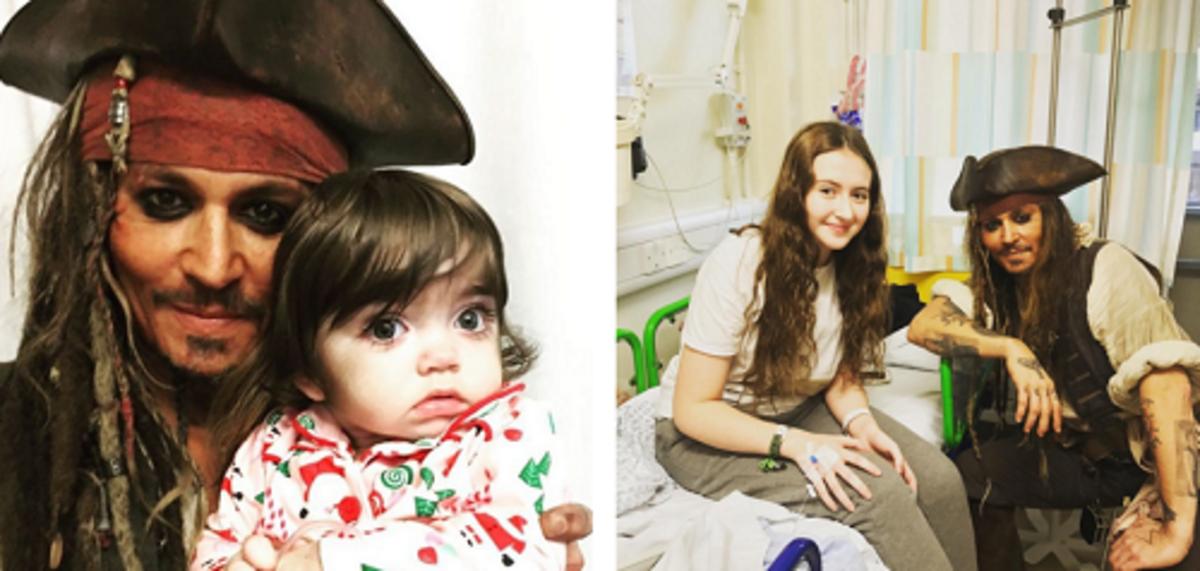 Джонни Депп навестил детскую больницу в костюме Джека Воробья