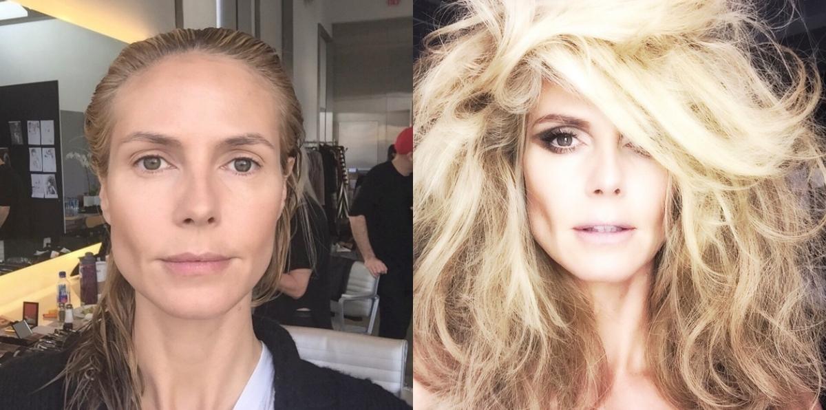 До и после: как Хайди Клум выглядит без макияжа