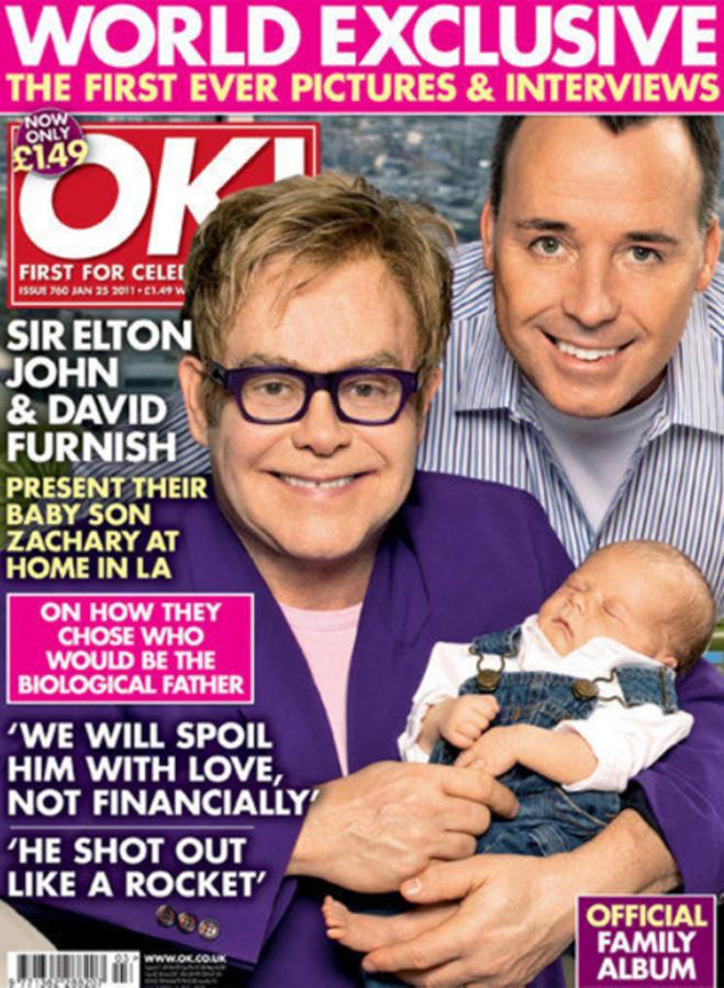Элтон Джон и Дэвид Ферниш с сыном Захари на обложке журнала OK!