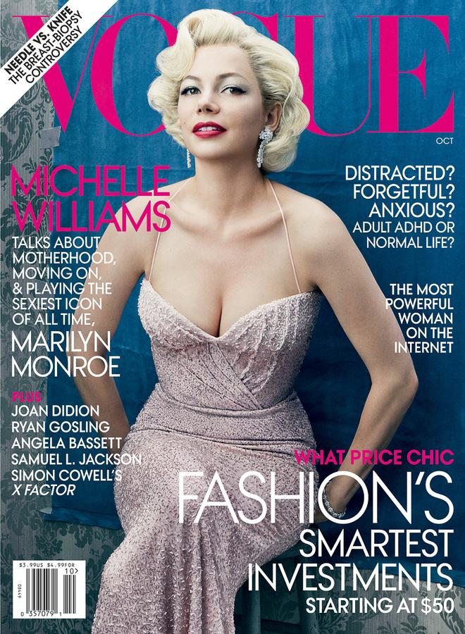 Мишель Уильямс в образе Мэрилин Монро в журнале Vogue. Октябрь 2011