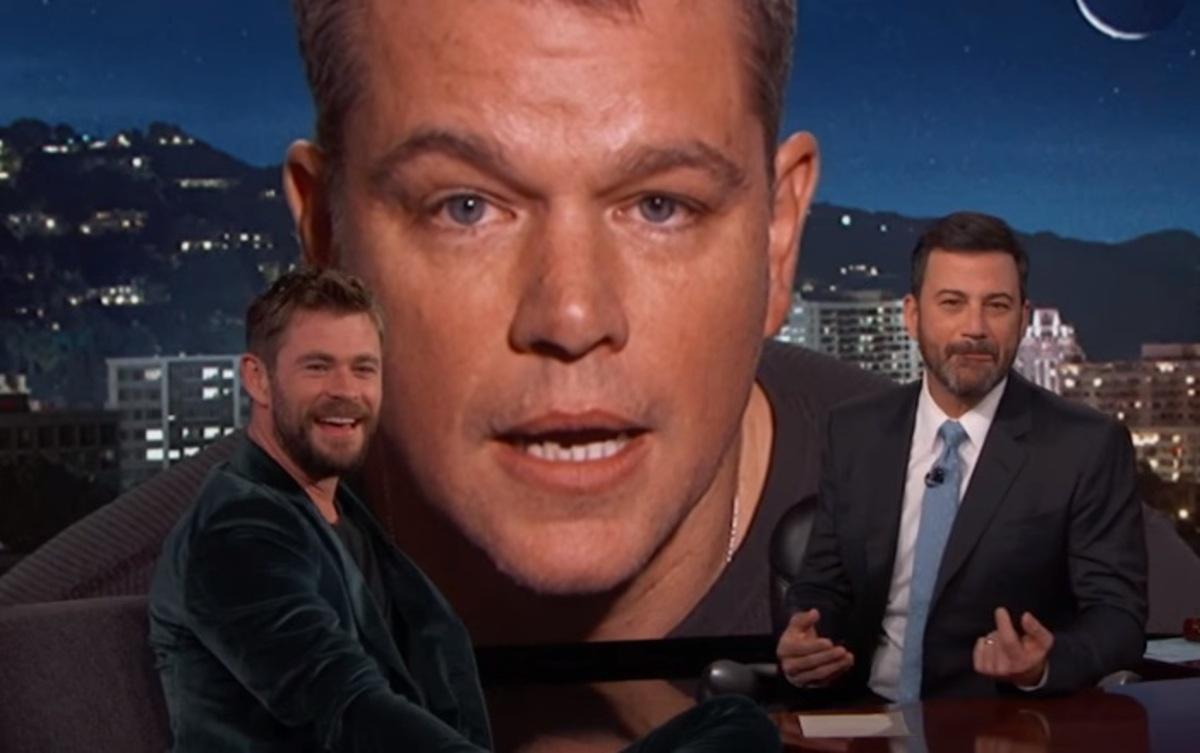 Видео: Мэтт Дэймон «сорвал» интервью Криса Хемсворта на шоу Джимми Киммела
