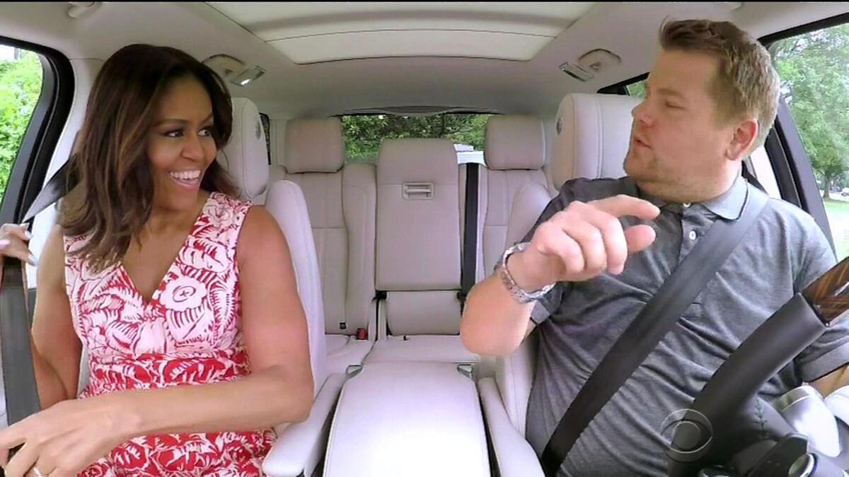 Мишель Обама перепела Бейонсе в автомобильном караоке Джеймса Кордена