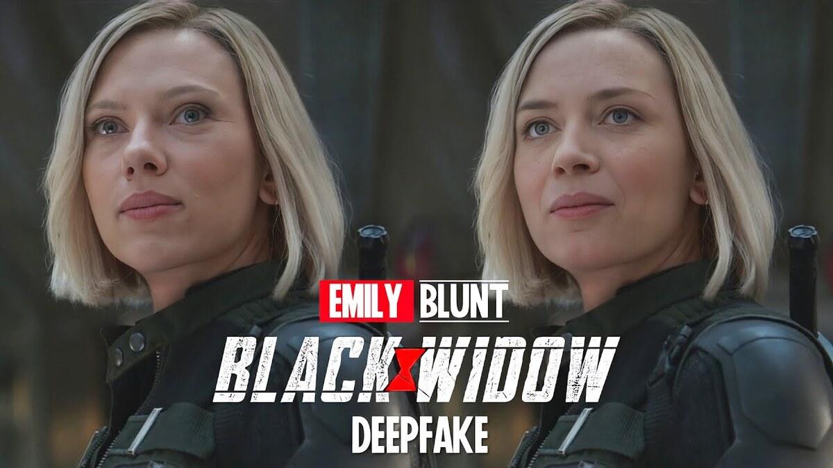 Видео: Эмили Блант показали в образе Черной Вдовы благодаря DeepFake