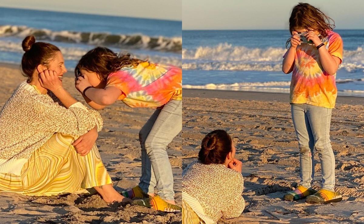 Семилетняя дочь Дрю Бэрримор устроила пляжную фотосессию для мамы